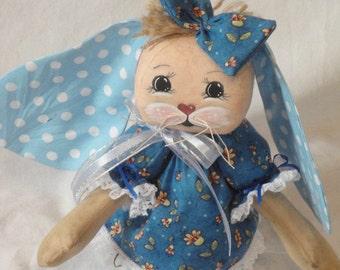 Primitive rabbit bunny cloth art doll standing bunny hand made rabbit made from cloth