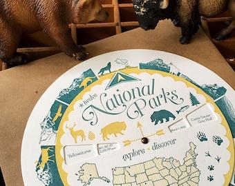 letterpress national parks spinner volvelle