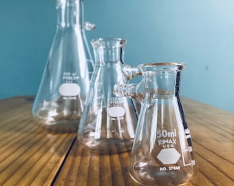 Vintage Science Laboratory Erlenmeyer Side Arm Flasks, Industrial Dad Father's Day Gift, Set of 3 Pyrex and Kimax Glass Chemistry Flasks