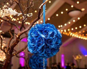 "Royal Blue flower ball with crystal ornament WEDDING CENTERPIECE hanging pomander kissing ball flower girl 7"" 8"" 10"" 12 14"" 16"" 18"""