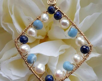 PENDANT Blue Opal Lapis Pearl Wire wrapped 14kt gold filled Diamond Pendant