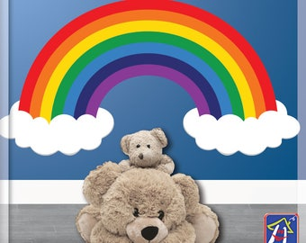 Rainbow wall decal - Nursery Rainbow and Clouds - Bedroom Playroom decor - Toddler wall decal- Rainbow decal