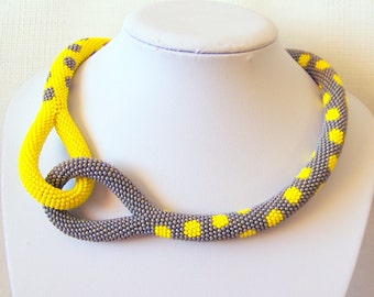 Beaded Crochet Knot Rope Necklace - Beadwork necklace - grey and yellow dot necklace - modern necklace - statement bright necklace