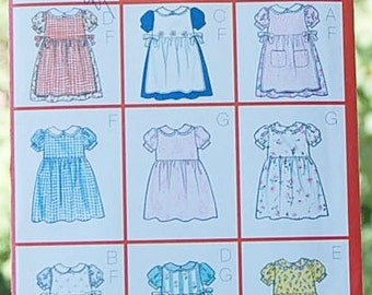 Butterick 6484 Dress Pinafore Infant Girls Sizes 1 - 4 UNCUT Fast and Easy