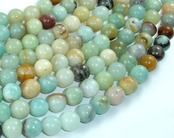 Amazonite Beads, Round, 8mm, 15.5 Inch, Full strand, Approx 47-50 beads, Hole 1 mm, A quality (111054016)