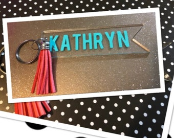 Personalized Keychain - Banner Key Chain - Key Chain - Back pack Tag - Luggage Tag - Bag Tag - Suitcase - Tassels