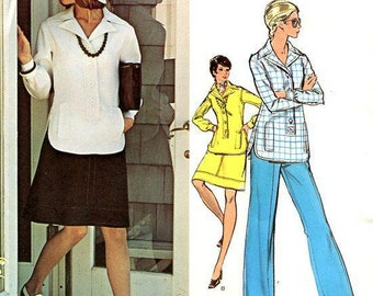 FREE US SHIP Vogue 2842 Couturier Design Belinda Bellville Vintage Retro 1960s 60s Top Skirt Pants Uncut Sewing Pattern Unused Tunic Pants