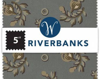 Riverbanks 5 Inch Squares Charm Pack, 42 Pieces, Jeanne Horton, Windham Fabrics, Precut Fabric, Quilt Fabric, Cotton Fabric, Reproduction