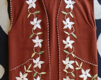RUST WOOL VEST vintage cowgirl hippie western embroidered top M L