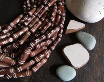 Brown  tube bone beads, with a  carved designs,  natural Irregular look,  boho exotic beads 20 to 22mm long  (10 beads) 6db3-8