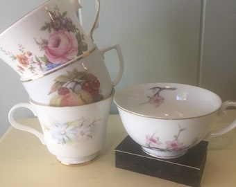 4 Vintage Mismatched China Tea Cups - Floral Rose Cherry Blossom blue pink fruit