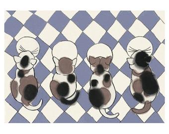 "Cat art  illustration tortoiseshell cat   Friday Night Drinks - 11.7"" X 8.3"" print - 4 for 3 SALE"