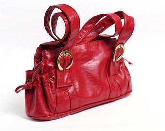 80s Messenger Red Leather Bag, Tooled Red Leather Handbag, shoulder bag, women tote travel bag, leather purse bag, accessory bag, iPhone bag