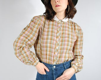 Vintage 1970's Checked Blouse - 70's Embroidered Top - Metallic Pastel Plaid - Size