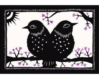Two Birds One Tale - 5 X 7 inch Cut Paper Art Print