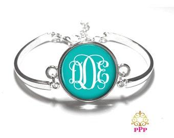Turquoise Monogram Bracelet, Monogram Bangle, Monogram Jewelry, Bridesmaid Gift, Personalized Bracelet - Style 382