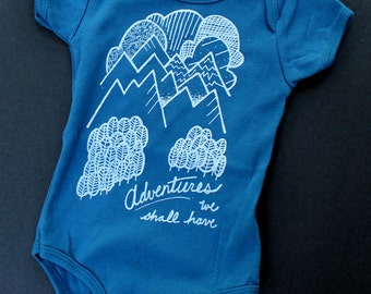 Baby adventure bodysuit, one-piece organic, mountains clouds and forest baby outfit, shower gift, graphic print