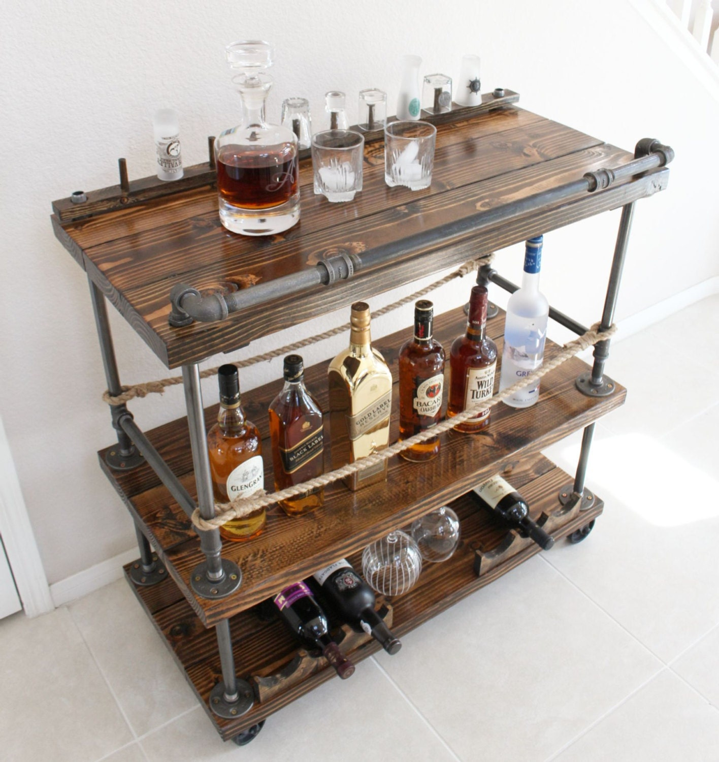 Black Pipe Kitchen Island: Rustic Bar Cart Industrial Pipe & Wood Bar / Unique Bars