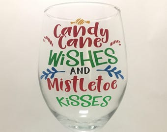 Candy Cane Wishes Christmas Wine Glass