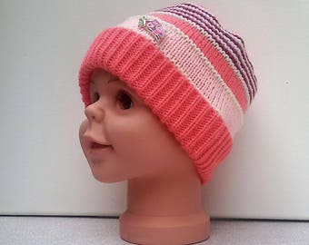 Handknit pink ombre child winter hat size 6/8 years