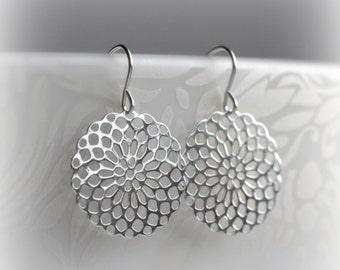 Boho Earrings Silver, Dangle Earrings, Bohemian Gift for Her, Jewelry Gift, Delicate Silver Earrings, Filigree Earrings by Blissaria