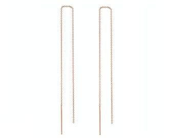 14k Solid Rose Gold threaders Chain Stitch Earrings Long Line Modern Bar Threaded Through Earrings Dangle Drop Threads