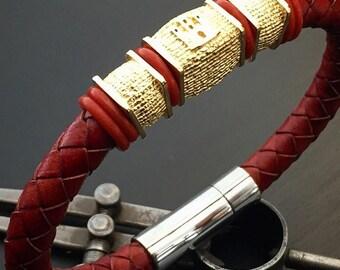 Men's Bracelet Genuine Leather - Stainless Steel