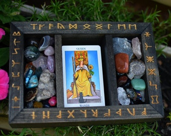 Rune Engraved Divided Tarot and Crystal Storage Box