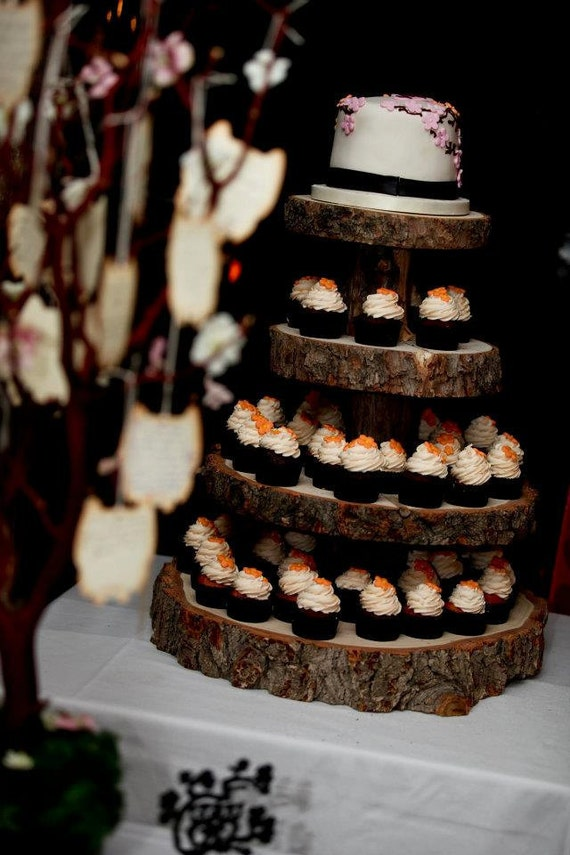 pictures of wedding cakes made out cupcakes rustic wood tree slice 4 tier cupcake stand for your wedding 18466