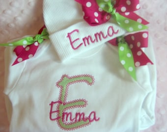 Personalized coming home outfit, Newborn outfit, Hospital take home Clothes, baby name gown, Bring home outfit,  name hat for baby girl