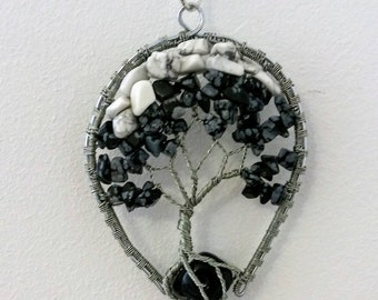 Obsidian necklace, Wire Tree of Life Bonsai Pendant, Twisted Jewelry