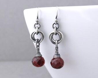 Dainty Birthstone Earrings Simple Silver Drop Earrings Garnet Earrings Birthstone Jewelry Rustic Jewelry Minimalist Jewelry - Love Knot
