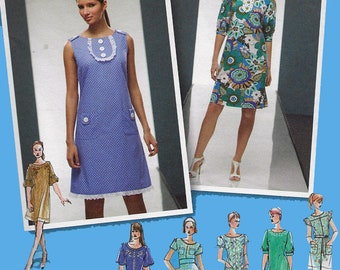 Misses A Line Dress with Seven Sleeve Variations Sewing Pattern Simplicity 2995 Plus  Size 14-22 Bust 36-44 UNCUT