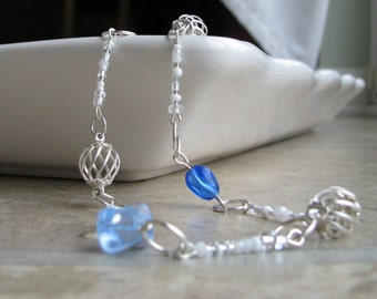 FREE SHIPPING Silver Blue Necklace