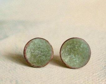 Salbei Grün Ohrringe Post - Medium - Moss Farbe Emaille Schmuck - organischen erdigen Schmuck