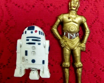 Very Rare!  Vintage 1980 Wilton Cake Toppers Decorations STAR WARS R2D2 & C3PO 2113-3607