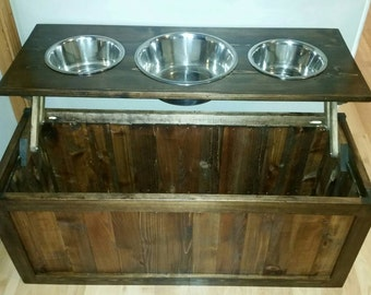 Raised dog feeder with storage, 3 bowl dog feeder, pet feeder, western feeder, elevated feeder, three bowl, dog feeder, Rustic dog feeder