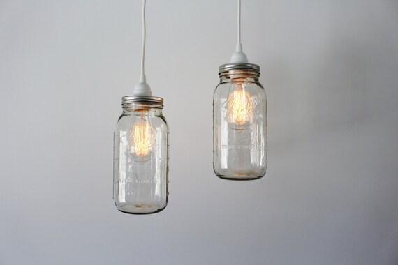 Mason jar pendant lights 2 clear half gallon mason jar mozeypictures Images