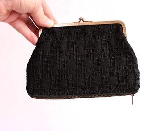 vintage double sided coin purse . black coin purse, kiss lock frame top, zipper pouch on bottom, soutache design