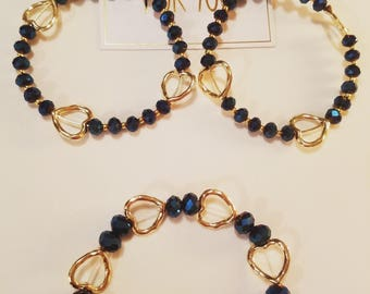 Midnight blue and gold heart earring and bracelet set