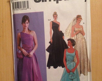 Simplicity 5447 Sewing Pattern Uncut Misses and Misses Petite Evening Dress, Purse and Shawl Size 12-18