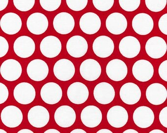 Robert Kaufman Spot On in Red and White, Large Polka dots, yard