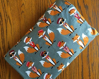 Fabulous Fox Fitted Crib Sheet~ Nursery Bedding ~Gray/Orange/Red Foxes  Fitted Crib Sheet~ Cotton Crib Sheet