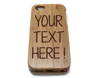 wooden iphone SE case / iphone SE case wood - real wood iphone SE case bamboo, cherry or walnut wood - Custom text / personalized design