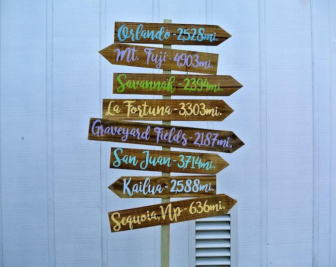 Directional Wood Family sign, Destination Mileage Signpost, Unique Family gift idea