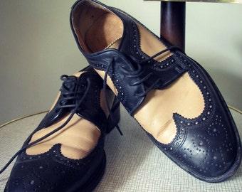 Longwings spectator di bicolore nero e beige vintage pelle scarpe uomo taglia 40 di ghiaia ci 7,5
