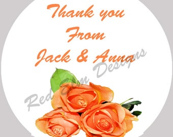 """Thank You Stickers - Sheet of 20 - 2"""" round.  Rose Sticker Favors.  2 Inch Round Rose Thank You Wedding Stickers"""