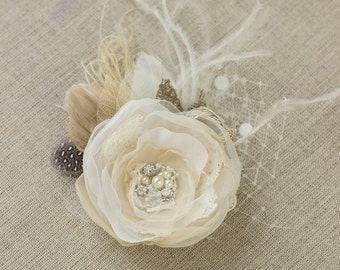 Wedding hair piece, Lace hairpiece, Bridal headpiece, Vintage  hair flower, flower headpiece, Bride hair accessories, Champagne hairpiece