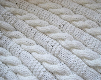 Cable & Garter Stitch Baby Blanket  ~Knitting pattern