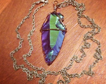 CALYPSO rainbow titanium obsidian arrowhead necklace
